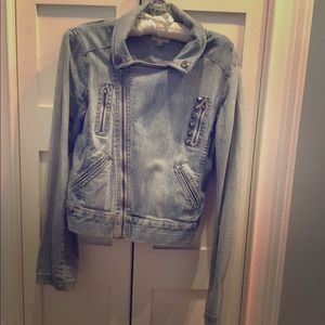 Urban Outfitters Denim asymmetrical  moto jacket